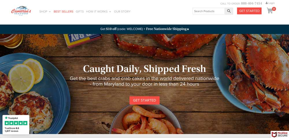 Buy Maryland Blue Crabs & Crab Cakes Online | Cameron's Seafood